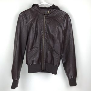 Windsor Faux Leather Jacket w/ Removable Hood S/M